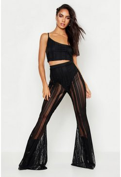 Womens Black Fishnet Flare Leg Trouser