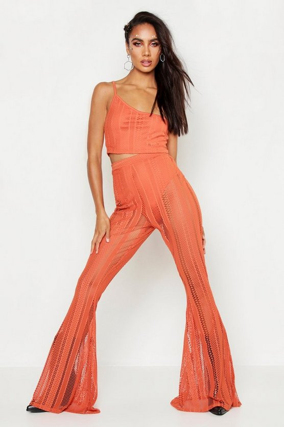 Womens Orange Fishnet Flare Leg Pants