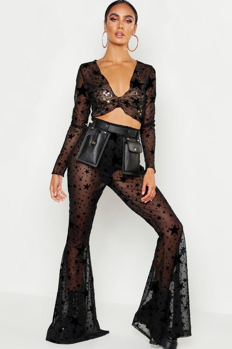 16be97b0b7c3 Flock Mesh Star Print Flare Trouser | Boohoo