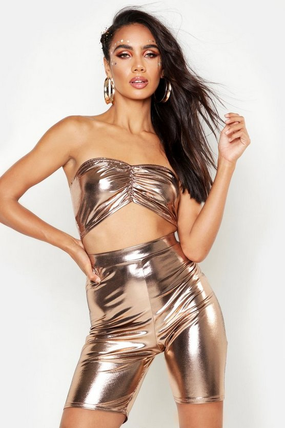 Womens Rose gold Ruched Front Metellic Bandeau