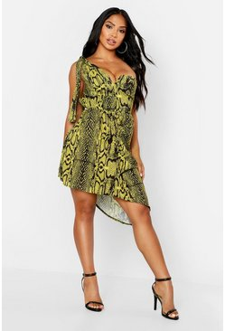Yellow Animal Print One Shoulder Drape Mini Dress