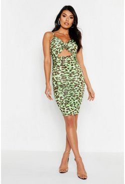 Womens Green Animal Peep Hole Strap Dress