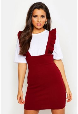Womens Berry Ruffle Strap Pinafore