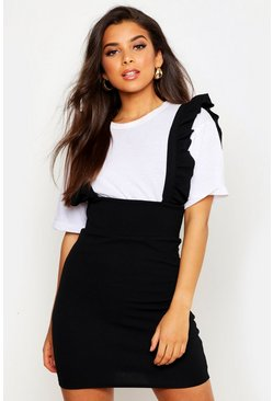 Womens Black Ruffle Strap Pinafore