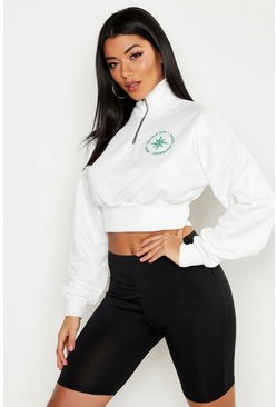 Womens White Seattle Slogan Zip Detail Funnel Neck Sweat