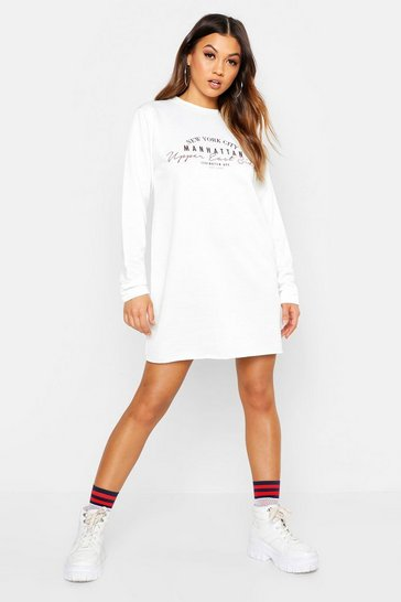 Womens White New York Slogan Sweat Dress