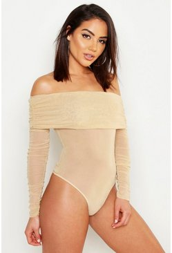 Womens Stone Mesh Ruched Off The Shoulder Bodysuit
