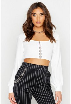 Womens White Woven Hook & Eye Crop