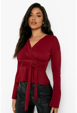 Womens Berry Crepe Split Sleeve Ruffle Shoulder Top