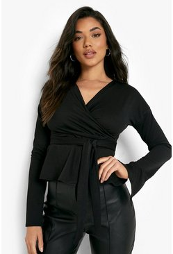 Black Crepe Split Sleeve Ruffle Shoulder Top