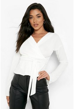 Ivory Crepe Split Sleeve Ruffle Shoulder Top