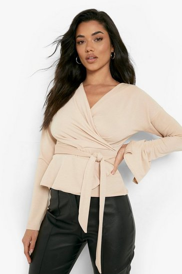 Womens Stone Crepe Split Sleeve Ruffle Shoulder Top