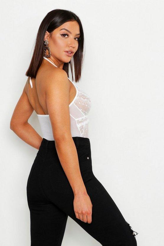 Premium Lace Halter Bodysuit