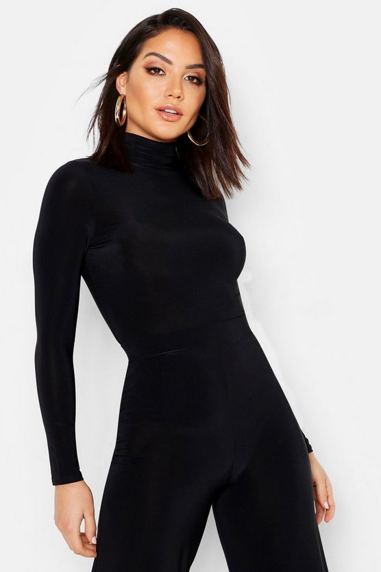 Womens Black Roll Neck Top