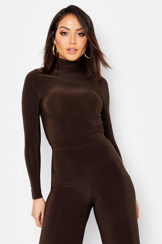 Womens Chocolate Roll Neck Top