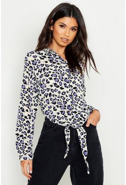 Womens Lilac Woven Leopard Tie Front Shirt