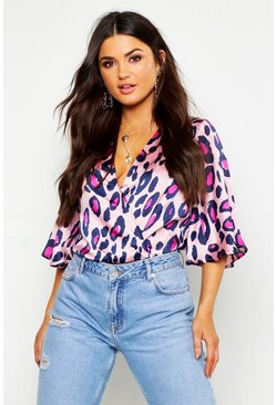 Womens Pink Satin Angel Sleeve Leopard Bodysuit