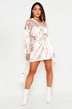 Satin Scarf Print Tie Front Shirt Dress