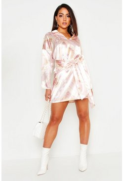 Pink Satin Scarf Print Tie Front Shirt Dress