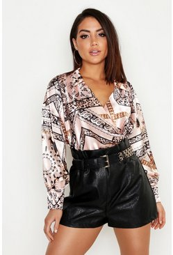 Womens Nude Satin Chain Print Cowl Neck Shirt