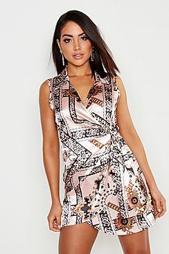Satin Chain Print Wrap Shirt Dress