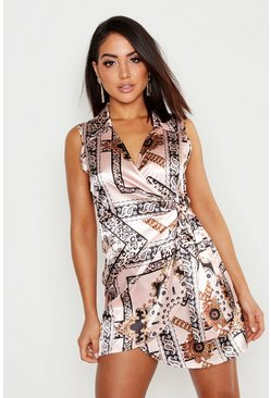 Nude Satin Chain Print Wrap Shirt Dress