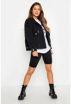 Black Petite Batwing Acid Wash Denim Jacket