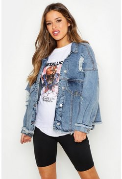 Womens Blue Petite Batwing Acid Wash Denim Jacket