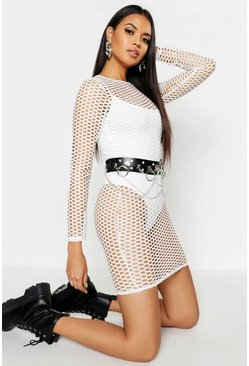 Womens White Airtex Long Sleeve Mini Dress