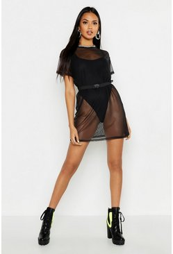 Womens Black Mesh Buckle Belt Detail T-Shirt Dress