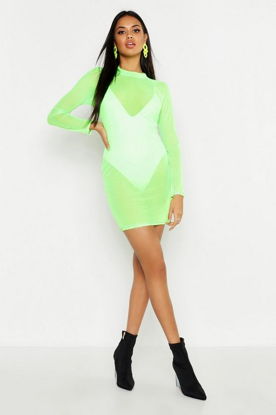 Womens Neon-green High Neck Mesh Seam Detail Mini Dress