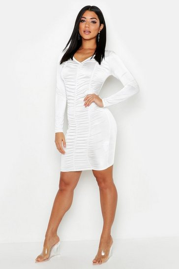 White Ruched Long Sleeve Mini Dress