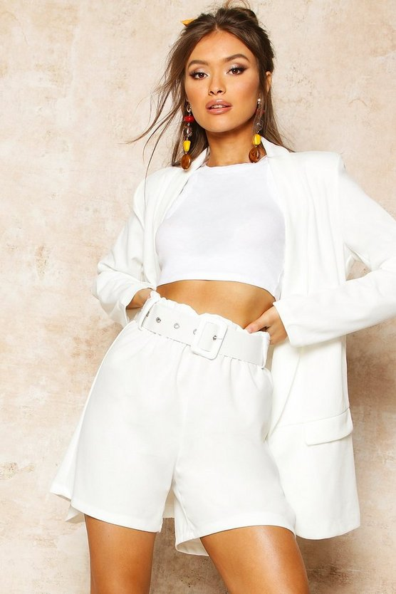 Womens White Tailored Paper Bag Belted Short