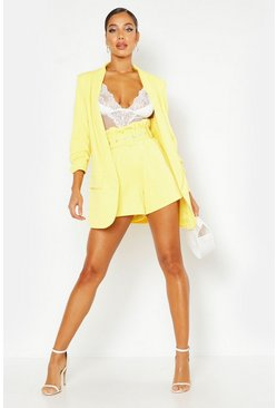 Womens Yellow Woven Tailored Ruched Sleeve Blazer