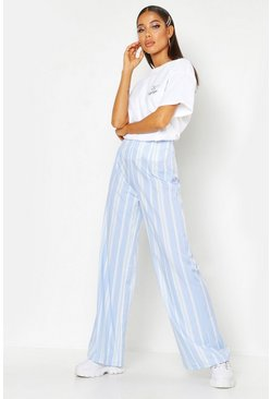 Womens Blue Woven Stripe Wide Leg Trouser
