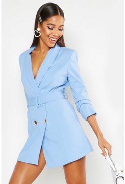 Womens Blue Woven Tailored Belted Blazer Dress