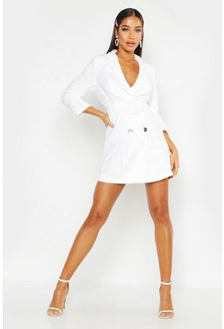 White Woven Tailored Belted Blazer Dress