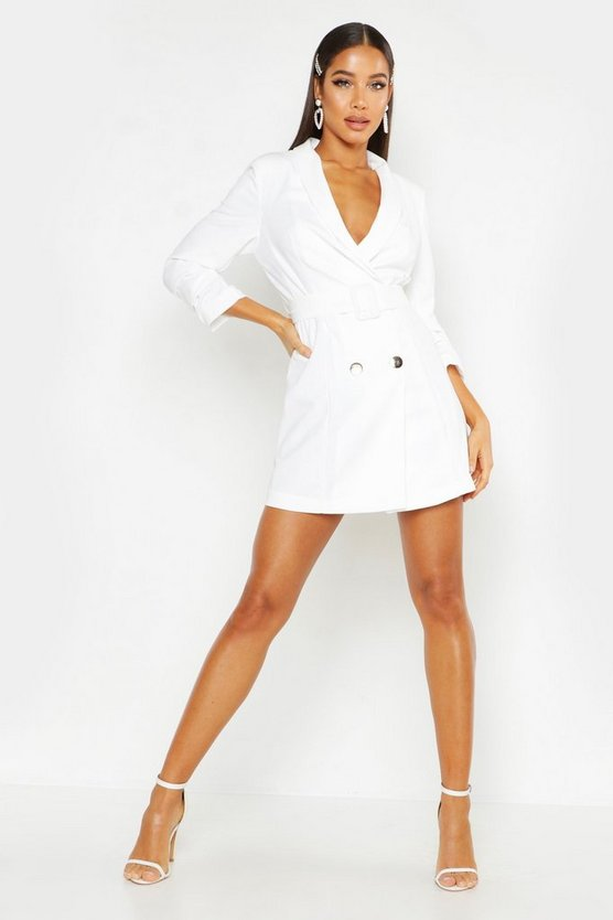 Womens White Woven Tailored Belted Blazer Dress