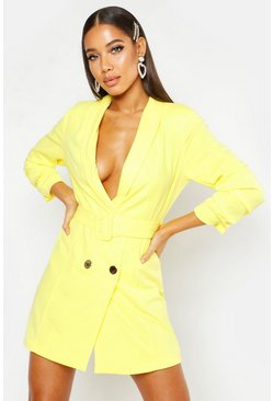Womens Yellow Woven Tailored Belted Blazer Dress
