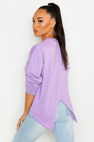 Womens Lilac Split Back Sweatshirt