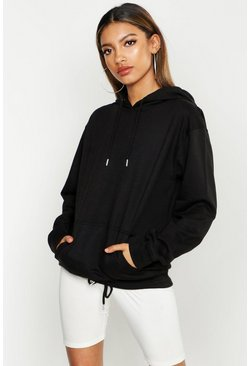 Black Basic Oversized Pocket Hoodie