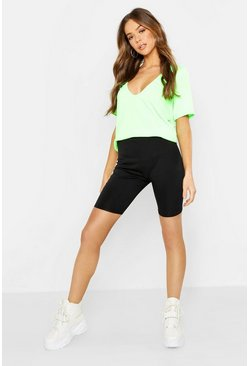 Womens Neon-lime Basic Rib Deep Plunge T-Shirt