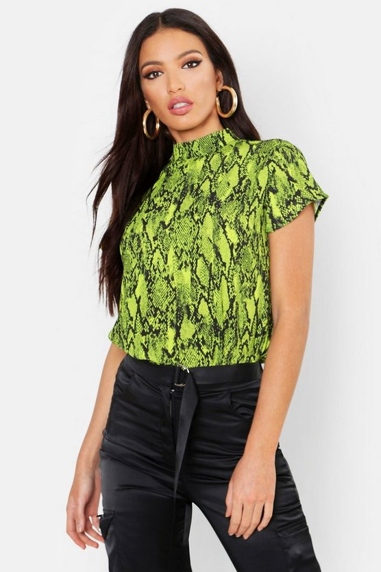 Womens Lime Woven Snake Print High Neck Blouse