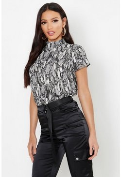 Womens Stone Woven Snake Print High Neck Blouse