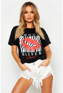 Womens Black Zebra Lips French Slogan T-Shirt