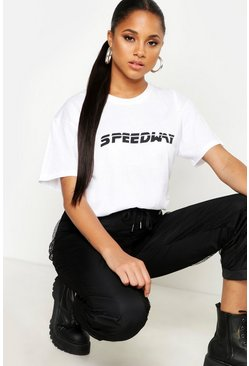 Womens White Speedway Oversized Slogan T-Shirt
