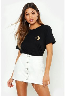 Womens Black Moon & Star Pocket Print T-Shirt