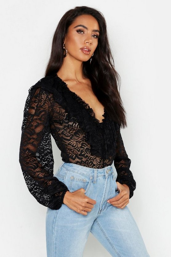 Womens Black Lace Ruffle Blouse