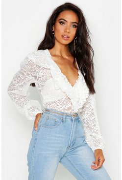 Womens White Lace Ruffle Blouse