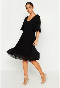 Womens Black Cape Detail Chiffon Midi Dress